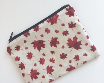 Maple Leaf Zippered Snack Bag - Kids Snack Bag - Lunch Pouch - Canada 150 - Snack Sack - Lunch Bag - Canada Day