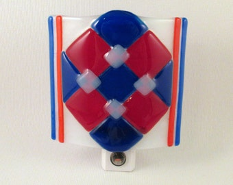 Fused Glass Red White and Blue Checkered Plaid LED Nightlight