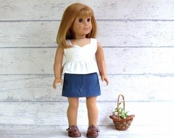 18 inch Doll Denim Mini Skirt and/or Cream Ruffle Top, Sleeveless Top, Blue Denim Skirt, Summer Outfit