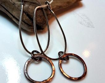 Hammered Mixed Metal Hoops, Sterling Silver, Copper, Women's Earrings, Artisan Metalwork, Hoop Earrings, Rustic Bohemian, Boho Chic