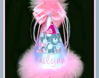 Elephant Birthday Hat,  Elephant Cake Smash, Elephant First Birthday Hat,  2nd Birthday Hat, You Choose Colors,  GINGHAM BUNNY EMBROIDERY