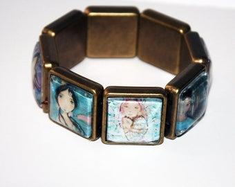 Mermaids -  Art Stretch Glass Bracelet - by  FLOR LARIOS