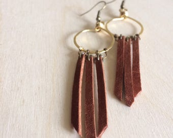 FRINGE brass wirework hoop dangle leather earrings