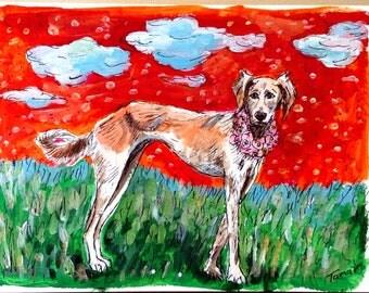 Aloha Saluki Card, Original Saluki Painting, Hand Painted Cards, Persian Greyhound Art, Cloud painting, Dog Art, Gazelle Hound, Hawaii Art