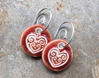 Red Ceramic Heart Earrings