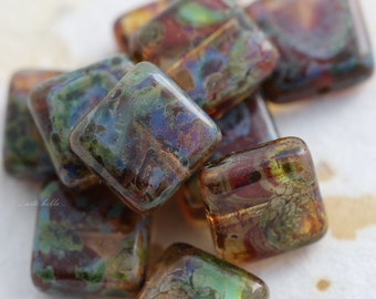 EARTHY SQUARES .. 10 Premium Picasso Czech Glass Square Beads 10mm (5571-10)