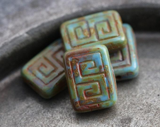 BLUE LICHEN KEYS .. 4 Premium Picasso Czech Glass Rectangle Beads 9x13mm (5473-4)