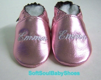 Baptism shoes Rose gold leather baby shoes - soft sole baby baptism booties ,personalized baptism