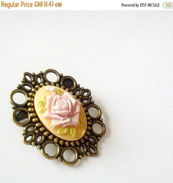 ON SALE Pretty Pink Rose Brooch Pin Romantic Antique Brass Cameo Regency Rococo Victorian Marie Antoinette EGL Woman