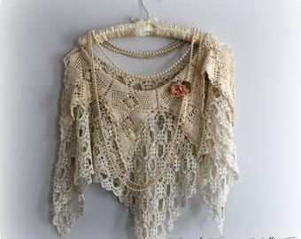 Shabby Chic Shawl, Shabby Victorian, Tattered Look, Mori Girl, Doily Clothing, Vintage Lace Clothing, Crochet Poncho