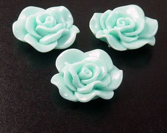 Cabochon Flower 2 Opaque Resin Rose Flower Round Pendant Size 30mm Blue (1014cab30m3-3)