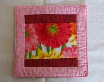 Bright Daisies Mug Rug Coaster or Mini Quilt in Pink Rose Yellow and Orange