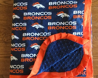 NEW - Denver Bronco Minky Blanket - HUGE - Adult Wrap Around Blanket - Ready to Ship