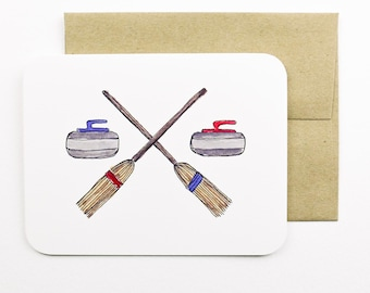 Curling rocks and brooms card with envelope   Curling   Winter sport   Curling rocks   Curling brooms   Greeting card   Holiday