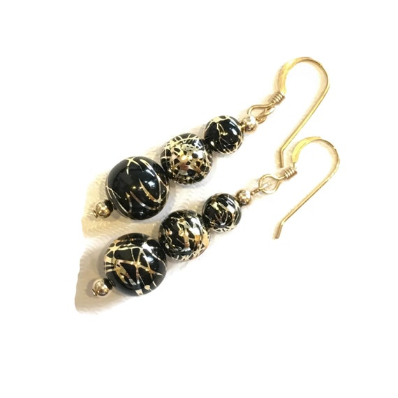 Black and Gold Party Earrings