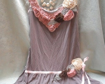 30% OFF Spring Cleaning TUNIC Top Whimsical Boho Romantic Laces - Reworked slip - Mocha, Pale Pink and Ivory