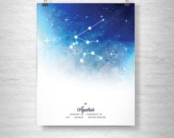Aquarius Poster, Zodiac Aquarius Print, Zodiac Stars, Aquarius Constellation