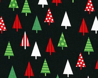 Two (2) Yards -Jingle 4 Christmas Holiday Trees by Robert Kaufman Fabrics AAK-15906-2 BLACK