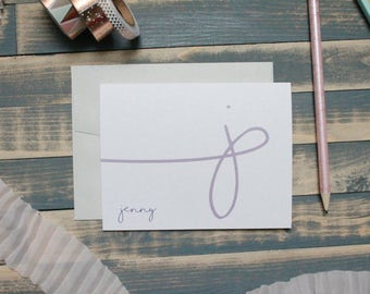 Loopy Calligraphy Custom Personalized Stationery Set | Stationary Gift | Swirly Calligraphy | Jenny