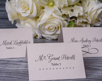 Blush Pink Wedding Place Cards - Shimmery Romantic, Simple, Coral, Traditional - Reception Escort Cards - Allison & Chandler