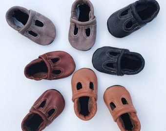 Boys T-STRAPS  Soft Soled Leather Shoes Baby and Toddler Free Shipping in US