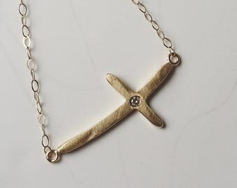 9k yellow gold cross necklace with diamond. Round diamond cross necklace. Recycled gold necklace. Chain necklace. Horizontal cross necklace.