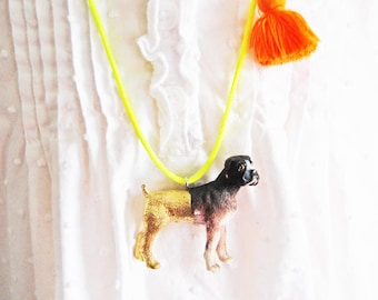 Kids Dog Necklace. Girls Dog Necklace. Kids Necklace. Tassel Necklace. Boxer. Gift for Dog Lover. Gift for Kid. Pet Necklace. Dog Jewelry