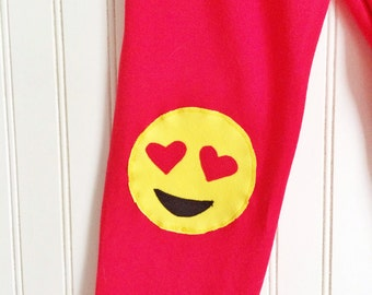 Valentines Leggings. Girls Leggings. Emoji Leggings. Girls Emoji Leggings. Heart Eyes Emoji. Toddler leggings. Emoticon Leggings. Girl Gift
