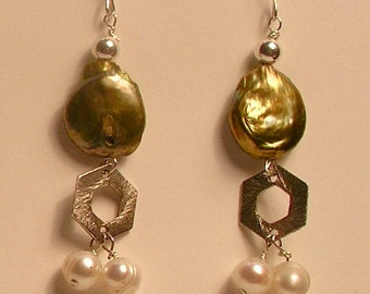 Green coin pearls, with freshwater pearl clusters and sterling silver earrings
