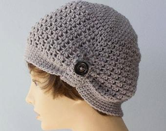 Gray Cloche Hat, 1920's Flapper Hat, Chemo Cap, Hand Crochet Hat, Women's Hat, Ready to Ship