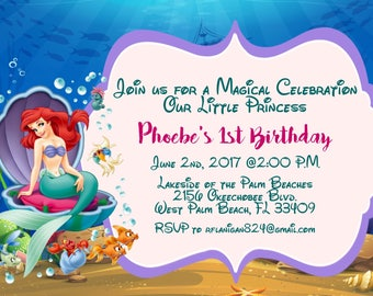 Girls Little Mermaid Printable Birthday Party Invitation Digital Image you print