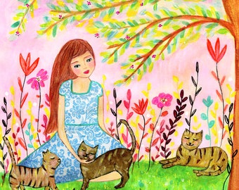 Cat Lady Nursery art - Nursery decor - Kids room decor - Children's art - Children's wall art - Kids wall art