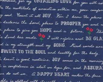 Windham Fabrics Meriwether Printed Words in Navy - Half Yard