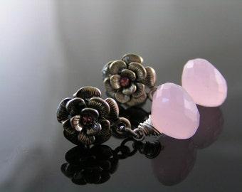 Pink Chalcedony Earrings, Rose Earrings, Rose Ear Studs, Silver Rose Studs, Pink Earrings, Wire Wrapped, Pink and Silver Earrings, E1053
