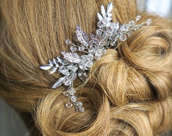 Bridal Comb, Gold Bridal Accessories, Floral Wedding Comb,Silver Floral Bridal Comb, Rhinestone & Pearl Wedding Comb