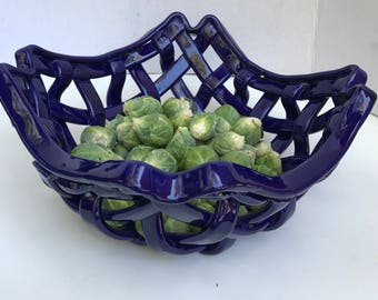 Woven cobalt bowl with scalloped edge