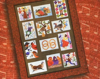 """New 2003 Twelve Days of Christmas Quilt 72"""" x 92"""" book by Mini Shrimp"""
