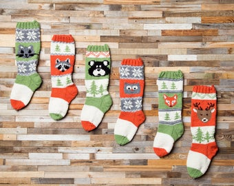 Squirrel, Christmas Stocking, Christmas Stocking Patterns, Christmas Stocking Design, Christmas Knitting, Forest Friends Collection, Forest