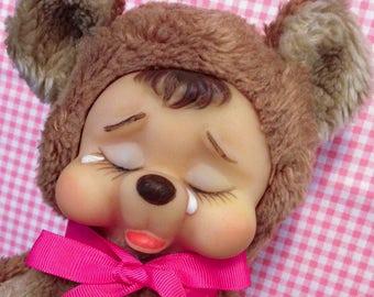 Vintage Sweet Plush Rubber Face Crying Sad Bear Brown Rushton