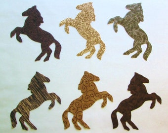 Set of 6 Rearing Horse  Iron-on Cotton Fabric Appliques for Quilts Apparel Etc