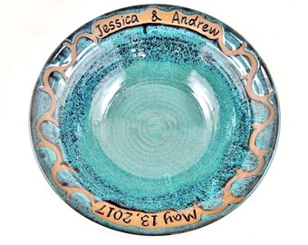 Personalized Wedding Gift, Pottery Wedding Bowl, Wedding Bowl with Custom Engraved names and date, Handmade wedding gift idea, Teal Blue