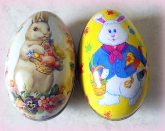 Set of Easter Egg Tins - Easter Table Decor- Large Egg Tin - Litho Easter Eggs - Made in Hong Kong