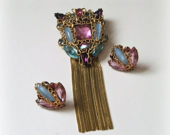 1940s Pin Earring Set,  Pink Aqua glass stones, twisted wire filigree, tassels, unsigned