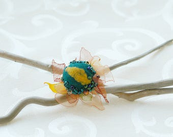 Felted floral adjustable ring yellow copper green felt textile flower felt flower ring, woodland gift for her beads embroidered ring
