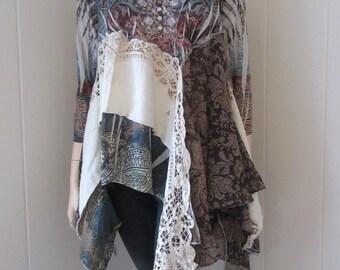 Boho Lagenlook Tunic Knit and Chiffon Distressed Paisley Vintage Lace Gypsy Romantic Junk Size S - M