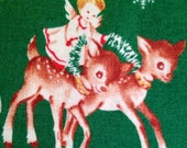 Christmas Reindeer & Angels Vintage-style Cotton Fabric