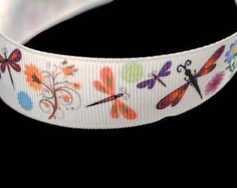 Dragonfly Ribbon, Spring Ribbon, Mother's Day Ribbon, Insect Ribbon, Flower Ribbon, Baby Shower Favor, Pretty Printed Ribbon, Bow Supplies
