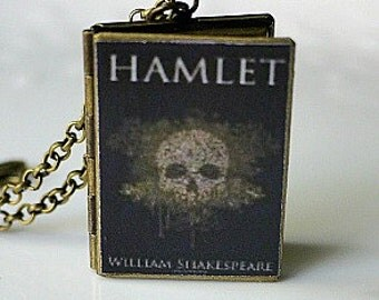 Hamlet, William Shakespeare, Book Locket Necklace, English Literature, Shakespeare Tragedy, Prince of Denmark, Claudius, Classic Lit, Prince