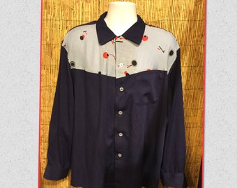 Hollywood Rogue Vintage Reproduction 1950s two tone Atomic shirt Available in large and X large