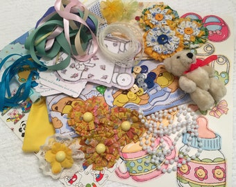Inspiration Kit, Baby Theme, Mixed Media Supplies, Card Tag Supply, Paper Crafts, Scrapbooking, Decorations, Destash Embellishments, Trims